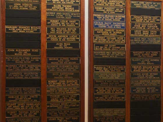 A display of Leather Panel Memorials
