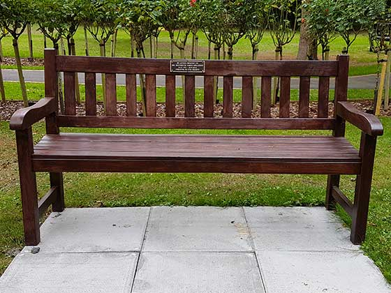 A Memorial Bench with plaque